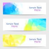 Sistema de banderas modernas del vector con los triángulos Imagen de archivo libre de regalías