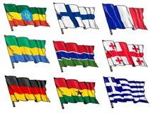 Sistema de banderas nacionales Fotos de archivo libres de regalías