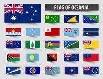 Sistema de banderas oficiales de Oceanía Diseño flotante de la bandera libre illustration
