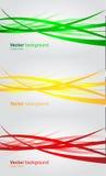 Sistema de banderas onduladas. Fondo abstracto del vector Imagenes de archivo