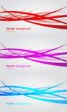 Sistema de banderas onduladas. Fondo abstracto del vector Foto de archivo