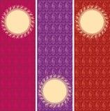 Sistema de banderas orientales de la vertical del modelo de la alheña de Paisley stock de ilustración