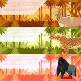 Sistema de banderas planas con los animales africanos ilustración del vector