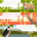 Sistema de banderas planas con los animales africanos libre illustration