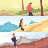 Sistema de banderas planas del web del vector en el tema que camina, el emigrar, caminando Deportes, reconstrucción al aire libre Fotos de archivo
