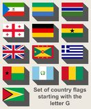 Sistema de banderas que comienzan con G Foto de archivo libre de regalías