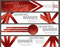 Sistema de banderas rojas con el mosaico poligonal multicolor abstracto Imagen de archivo