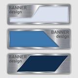 Sistema de banderas texturizadas metálicas banderas del web con textura de acero realista en formas abstractas Foto de archivo libre de regalías