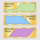 Sistema de banderas texturizadas metálicas banderas del web con textura realista del oro en formas abstractas Imagenes de archivo