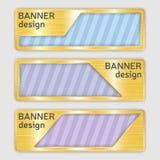 Sistema de banderas texturizadas metálicas banderas del web con textura realista del oro en formas abstractas Fotografía de archivo