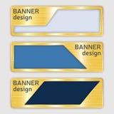 Sistema de banderas texturizadas metálicas banderas del web con textura realista del oro en formas abstractas Imagen de archivo