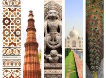 Sistema de banderas verticales con las señales famosas de la India Imagen de archivo