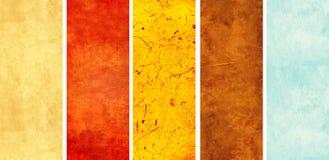 Sistema de banderas verticales con vieja textura de papel Foto de archivo