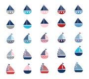 Sistema de barcos estilizados del vector Imágenes de archivo libres de regalías
