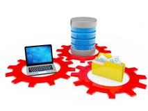 Sistema de base de dados com computador e dobrador 3d rendem Imagens de Stock