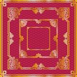 Sistema de bastidores cuadrados de oro chinos orientales en la parte posterior del rojo del modelo Imagenes de archivo