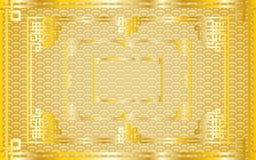 Sistema de bastidores de oro chinos orientales del rectángulo en el oro del modelo Imagenes de archivo
