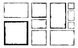 Sistema de bastidores del cuadrado del grunge de la tinta Fondo vacío de la frontera foto de archivo