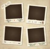 Sistema de bastidores florales retros de la foto del vector lindo Fotos de archivo libres de regalías