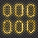 Sistema de bastidores de neón amarillos que brillan intensamente realistas Foto de archivo