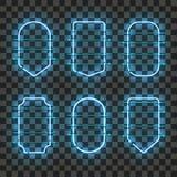 Sistema de bastidores de neón azules que brillan intensamente realistas Foto de archivo