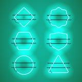 Sistema de bastidores de neón azules que brillan intensamente realistas Fotos de archivo libres de regalías