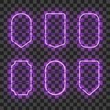 Sistema de bastidores de neón púrpuras que brillan intensamente realistas Imágenes de archivo libres de regalías