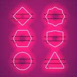 Sistema de bastidores de neón púrpuras que brillan intensamente realistas Fotografía de archivo libre de regalías