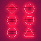 Sistema de bastidores de neón rojos que brillan intensamente realistas Imagen de archivo libre de regalías