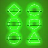 Sistema de bastidores de neón verdes que brillan intensamente realistas Imagen de archivo