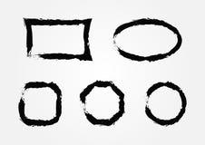 Sistema de bastidores vacíos del grunge Cinco modelos aislados para el diseño stock de ilustración