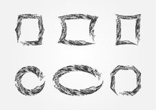 Sistema de bastidores vacíos grunge Seis marcos aislados ilustración del vector