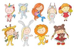 Sistema de bebés lindos de la historieta en los sombreros de diversos animales ilustración del vector