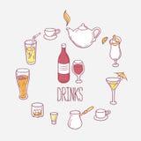 Sistema de bebidas de los garabatos en vector Imagenes de archivo