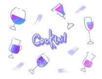 Sistema de bebidas del cóctel Ilustración del vector ilustración del vector