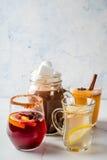 Sistema de 4 bebidas del otoño Imagen de archivo libre de regalías