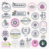 Sistema de belleza, cosméticos y etiquetas naturales y etiquetas engomadas de la atención sanitaria libre illustration