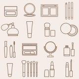 Sistema de belleza de la silueta y de iconos de los cosméticos Imagen de archivo libre de regalías