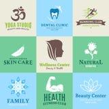 Sistema de belleza del vector y logotipo de la salud, iconos y elementos del diseño