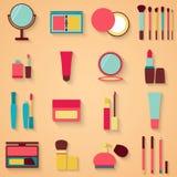 Sistema de belleza y de iconos de los cosméticos Ejemplo del vector del maquillaje Foto de archivo