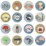 Sistema de bicicleta del diseño y de iconos planos de los accesorios