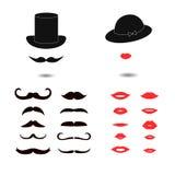 Sistema de bigotes y de labios stock de ilustración
