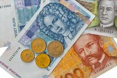 Sistema de billetes de banco croatas y de monedas de la moneda macros Fotografía de archivo libre de regalías