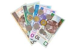 Sistema de billetes de banco y de monedas polacos foto de archivo libre de regalías