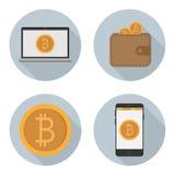 Sistema de bitcoin de los iconos del vector Imagen de archivo libre de regalías
