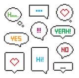 Sistema de 8 bits de la burbuja del discurso del arte del pixel Fotos de archivo libres de regalías