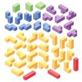 Sistema de bloques de los tetris del color Fotografía de archivo