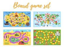 Sistema de boardgame de los niños; stock de ilustración