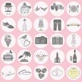 Sistema de boda del vintage, de estilo de la moda y de iconos de los elementos del viaje Foto de archivo libre de regalías