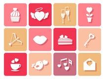 Sistema de boda e iconos de las tarjetas del día de San Valentín para las tarjetas Imágenes de archivo libres de regalías
